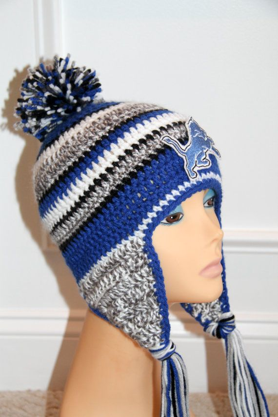 "PDF crochet hat PATTERN ""inspired"" by Detriot Lions New Era NFL  on the field hat. No patch included in instructions."