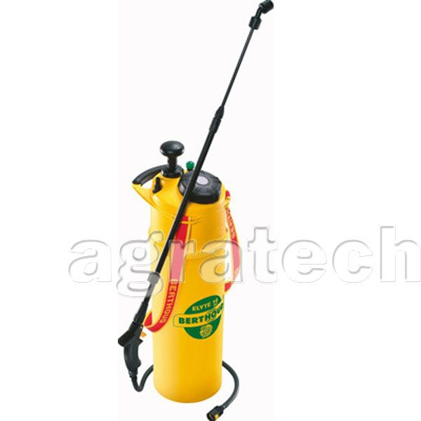 Berthoud 8 Ltr Elyte 14 Compression Sprayer   The sprayer is designed for use in medium sized gardens, and can be used to apply a variety of pesticides  It comes with the following features  Tank Capacity - 13.75 Ltrs  Usable Tank Capacity - 8 Ltrs (Space required for tank pressurisation)  Hose with snap fit connector