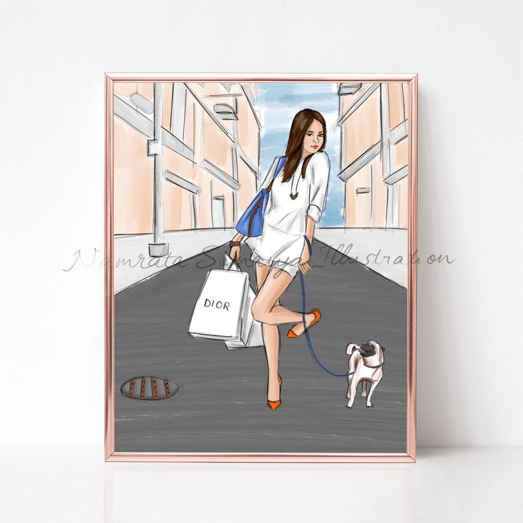 Excited to share the latest addition to my #etsy shop: Shopping with my doggie. Xmas gift (Fashion Illustration art print) #art #illustration #fashionillustration #artprint