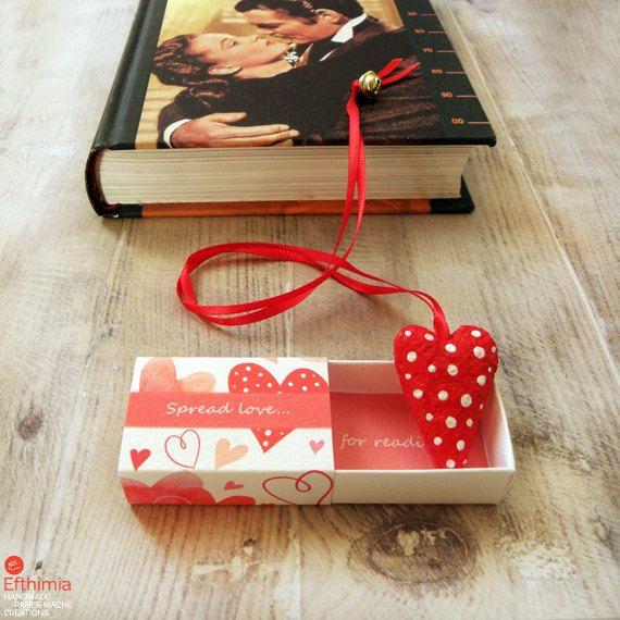 Papier mache red heart bookmarkmatchbox art by EfthimiaPapierMache