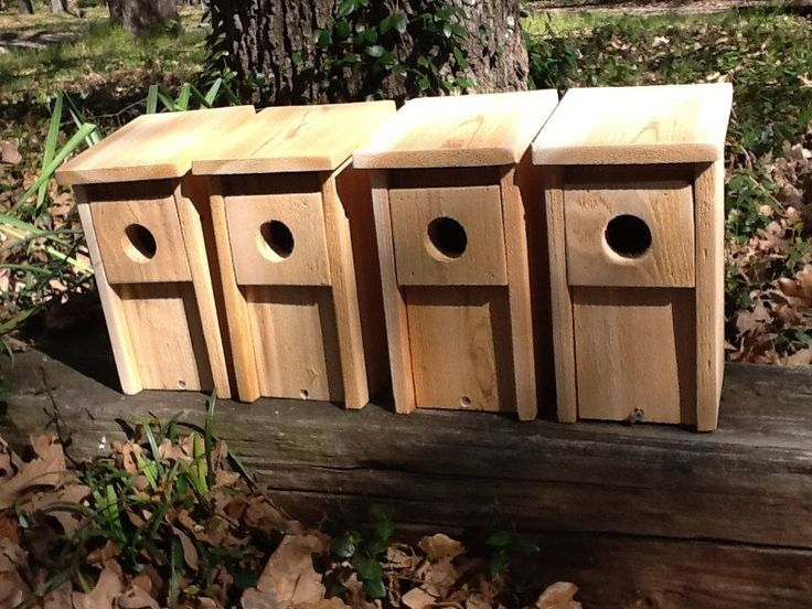 4 Bluebird Bird House Cedar Wood Nest Box Hand Made