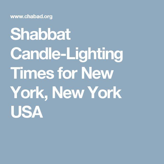 Shabbat Candle-Lighting Times for New York, New York USA