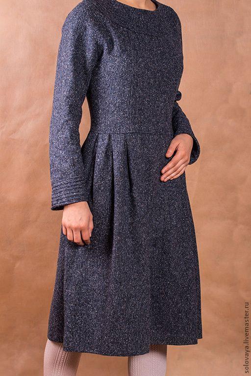 Купить или заказать Теплое твидовое платье в интернет-магазине на Ярмарке Мастеров. Платье из шерстяного твида. Отрезное на талии, со складками. Горловина и рукава оформлены рельефными швами. Рукава реглан. Застегивается на потайную молнию сбоку. Стоимость указана за пошив. Примерный расход ткани - 180 см или 250 см, если юбка широкая. Платье без подкладки, пошив такого платья на подкладке + 800 руб.