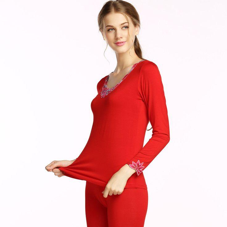 Traje de invierno de las mujeres underwear underwear termo térmica delgada modal calzoncillos largos pantalones calientes suite aumentar código femenino damas u