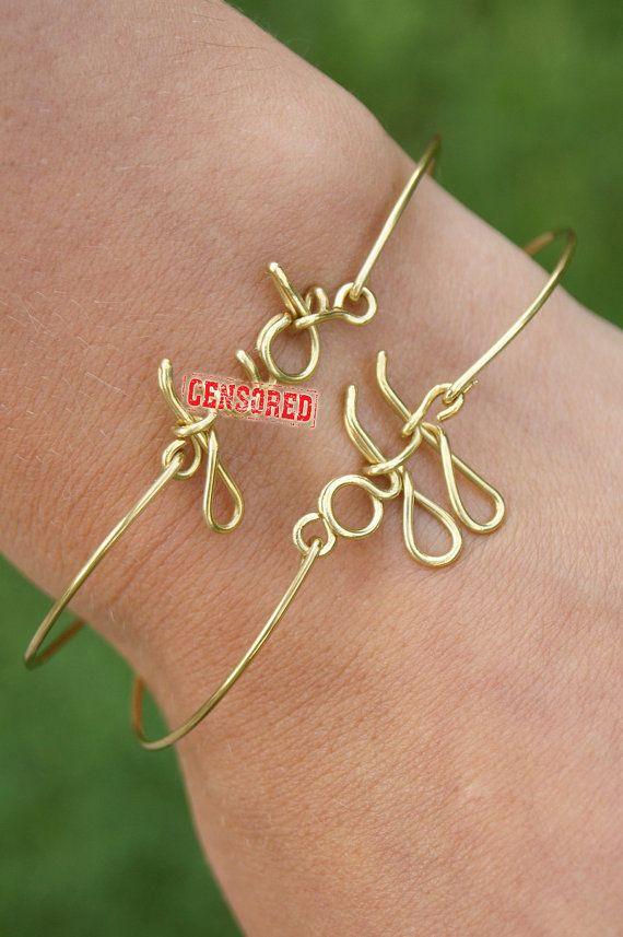 Personalized bracelet ,f*ck off brass wire bracelet, f*ck bracelet