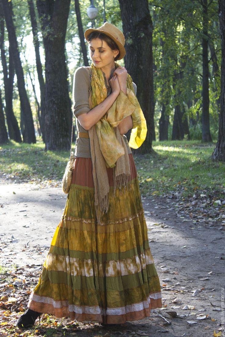 """Купить Длинная шелковая,многоярусная желтая юбка""""Солнце"""" - желтый, однотонный, многоялусная юбка, длинная юбка"""
