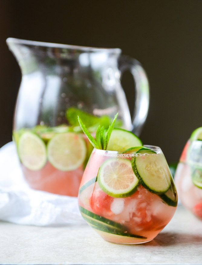 Summer wedding cocktail idea- sparkling cucumber watermelon sangria {Courtesy of How Sweet Eats}