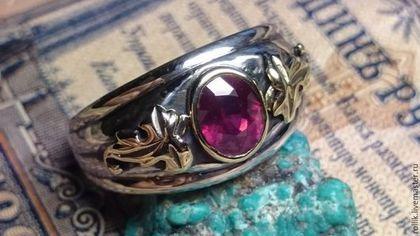 Кольца ручной работы. Ярмарка Мастеров - ручная работа. Купить Авторское кольцо с природным рубином с золотом. Handmade.