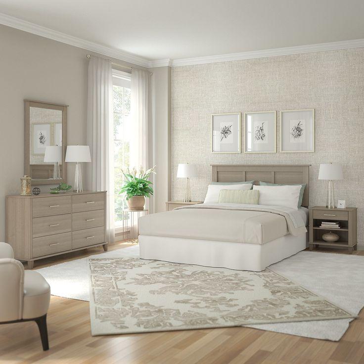 Bush Furniture Somerset Ash Grey Dresser With Mirror, Headboard, And 2  Nightstands (Dresser