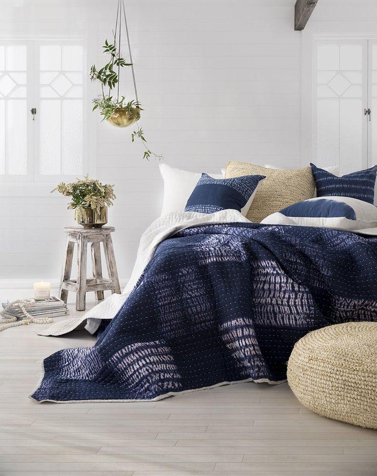 Indigo Block Shibori Bedspread / Quilt