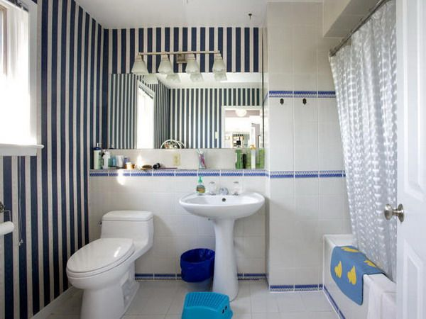 NO.bhd128 Bathroom Design Ideas With Blue Stripes Wallpaper Decoration  Picture