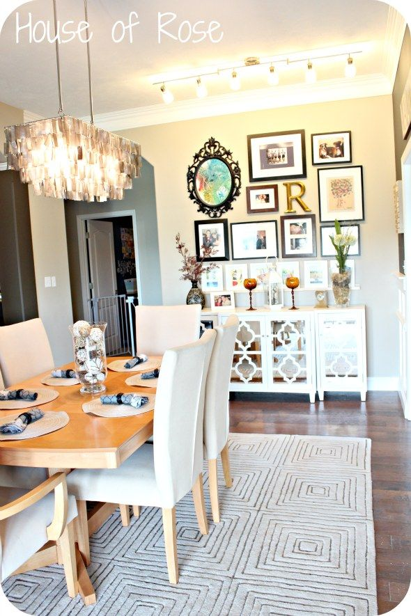 : Wall Collage, Dining Rooms, Dining Room Buffet Table Decor, Gallery Walls, Dining Room Buffett, Buffett Table, Pictures Arrangements, Wall Display, Wall Arrangements
