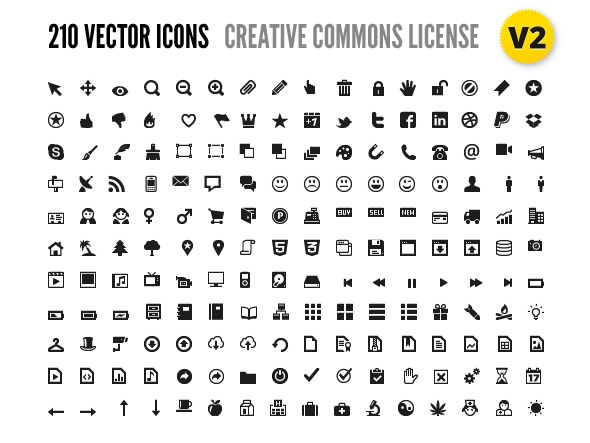 210 Vector Icons for Wireframes + Web Design
