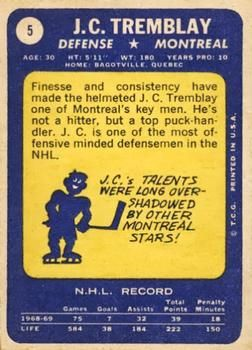 1969-70 Topps #5 J.C. Tremblay Back