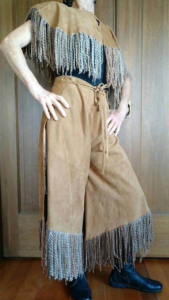 Gaucho Pants COWGIRL CHAPS Authentic Real Suede Chaps &