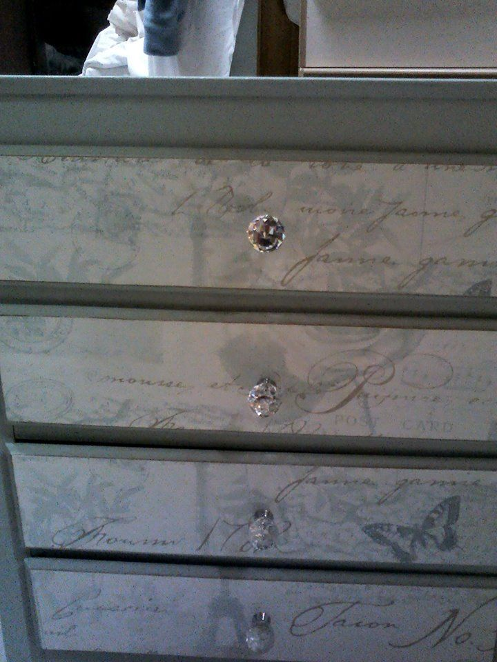 hand painted chest of drawers with paper fronts