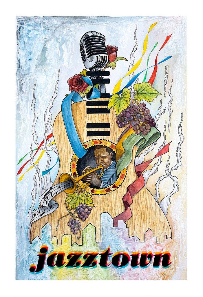 Jazztown,   illustration, ink, watercolor, wine, vineyard, banners, microphone, piano, music, jazz, jazzmen, trompet