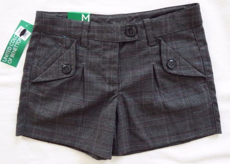 Girls United Colors Of Benetton Plaid Short Dress School Shorts Size Med 7-8 NWT - http://clothing.goshoppins.com/kids/girls-united-colors-of-benetton-plaid-short-dress-school-shorts-size-med-7-8-nwt/