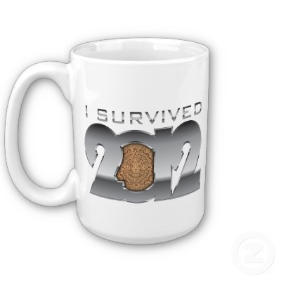"I survived 21 December 2012 mug!  I survived 21 December 2012  This is a mug that will make a great collection piece in several years when you'll look back and you'll laugh at ""the end of the world"" that you successfully survived. Tell everyone that you survived the Mayan Calendar, the 21 December 2012! Make a gift to someone. Brag with it! You earned it fair and square! You're a SURVIVOR!"