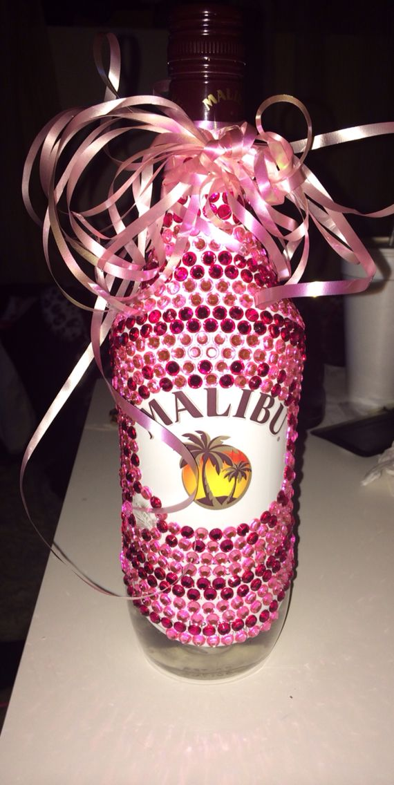 Bedazzled bottle of Malibu, great for a gift :)