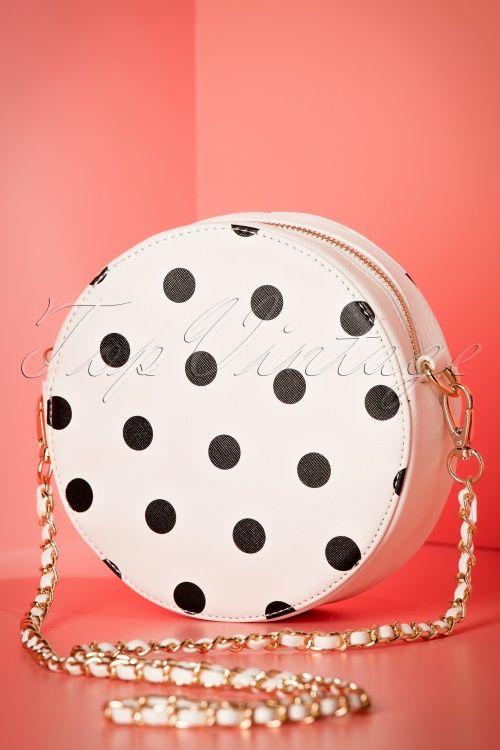 Amici 50s Celladora Polkadot Tote round Bag in Ivory and black ronde tas wit met zwarte stippen print