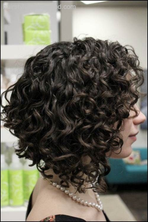 Shoulder Length Curly Angled Bob