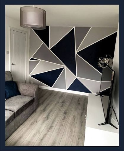 Feature Wall Bedroom, Accent Wall Bedroom, Bedroom Wall Designs, Room Ideas Bedroom, Bedroom Kids, Living Room Decor Cozy, Cute Room Decor, Wall Decor, Geometric Wall Paint