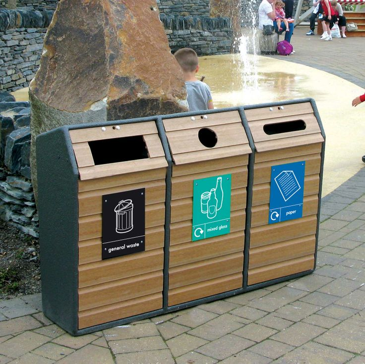 A triple version of the RLA that can collect three separate waste streams in one unit, great for busy parks and public areas.