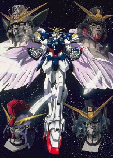 Wing Zero, Altron, Sandrock , Heavy Arms, and Deathscythe gundams from Mobile Suit Gundam Wing