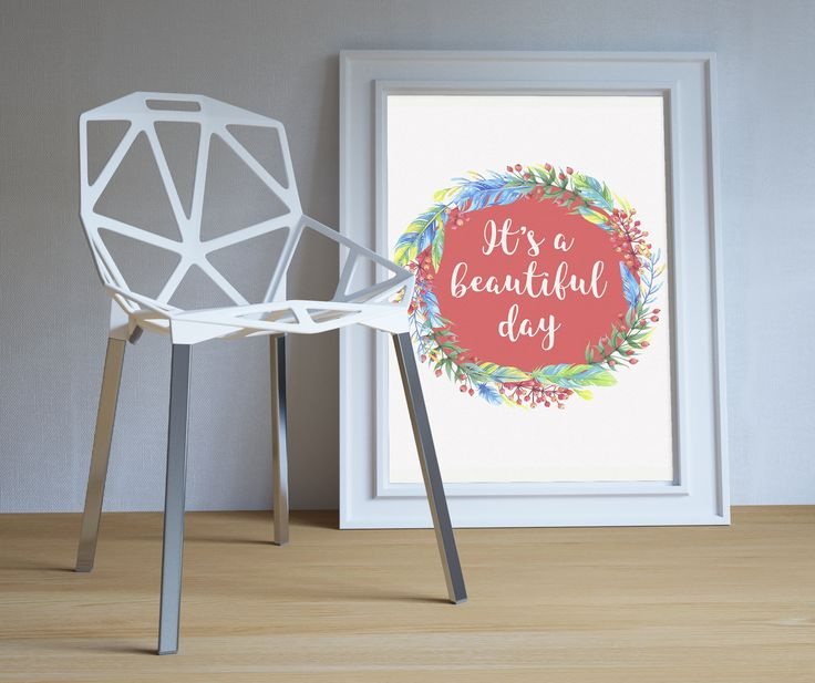 Its a beautiful day. Teen wall art Inspirational print. Flower wreath quote. Motivational poster. Inspirational words. Girls wall art. Inspirational art print. Large poster. Large wall art.  High resolution (300 dpi) JPG files in 5x7, 8x10, 11x14, 20x30 inches and A4 (210x297 mm) size. Shop here: www.etsy.com/listing/460030051/its-a-beautiful-day-teen-wall-art