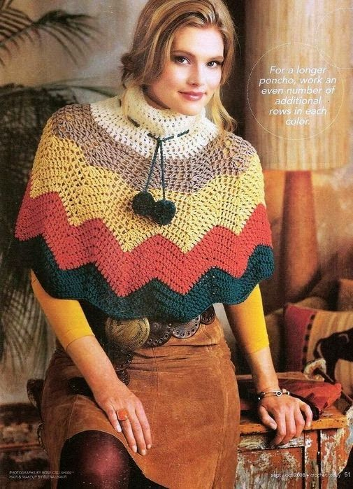 2 Ponchos con Ondas Instrucciones - Patrones Crochet