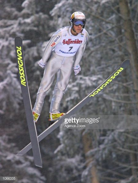 Emmanuel Chedal of France in action during the World Cup Ski Jumping in Engelberg Switzerland DIGITAL IMAGE Mandatory Credit Zoom Sports/ALLSPORT