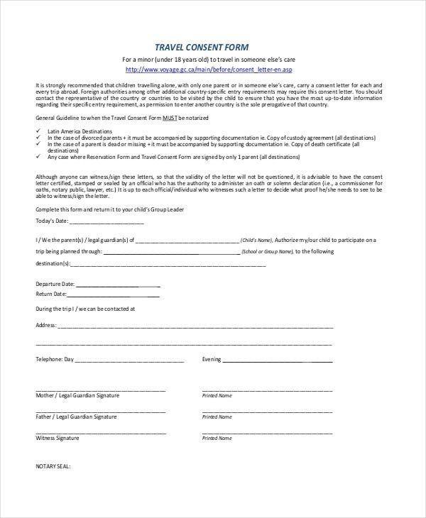 Parental Travel Consent Sample Child Travel Consent Form Examples