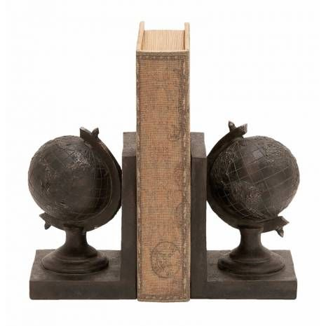 World Globe Themed Book End Set  A useful and creative set of bookends, each in the unique theme of an antique globes. This World Globe Themed Book End Set features a raised surface of mountain ranges and valleys for that realistic feel. Meticulous detailing is captured in this cast of polyurethane resin ( polyresin ) that is virtually unbreakable. Durable and heavy, this piece of polyresin decor maintains its aged paint finish for years and years to come.