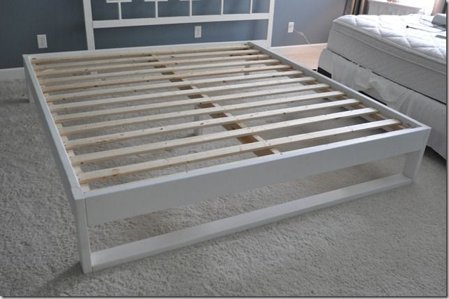 Inexpensive and easy queen bed frame . Also has sizes for twin and full. Great tutorial with pictures and item list.