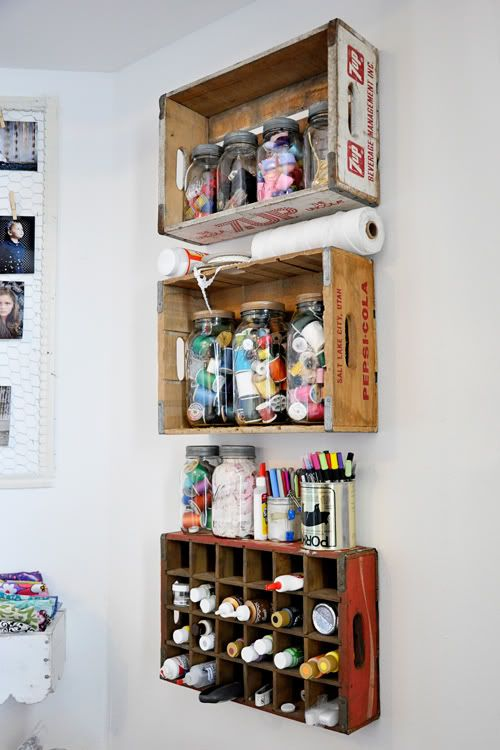 soda crate craft storage shelves