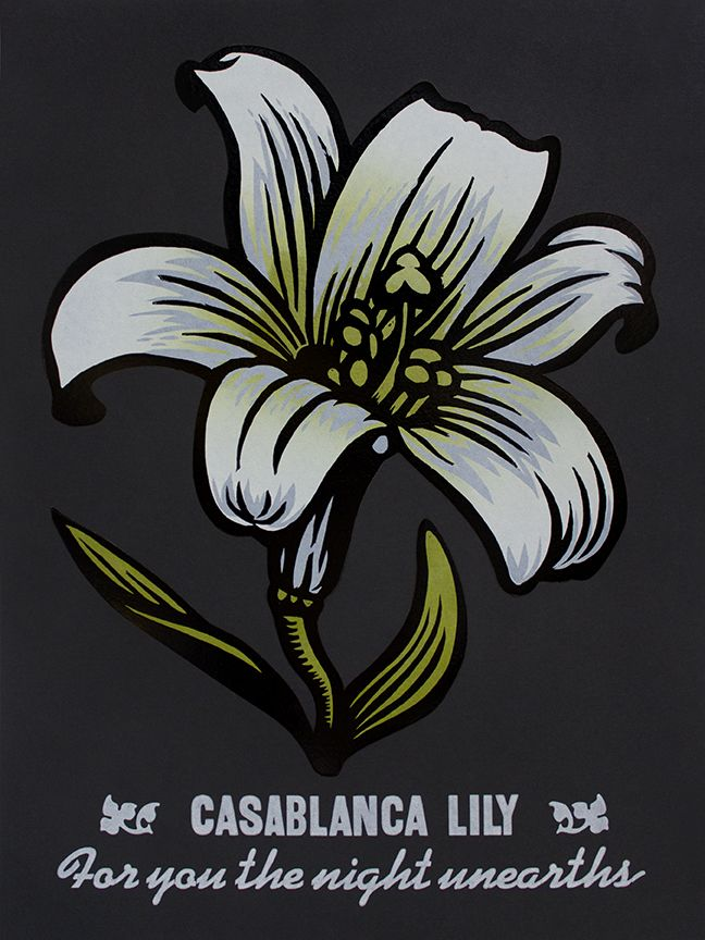 "Martin Mazorra Casablanca Lily Night Bloomer Woodcut and Letterpress on Black Paper 18"" x 24"""