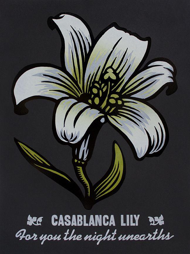 "Martin Mazorra Casablanca Lily Night Bloomer Woodcut and Letterpress on Black Paper 18"" x 24"""