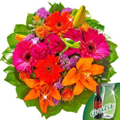 Blumenstrauß Farbtraum mit Vase & Wein  Eine Faszination mit Lilien und Gerberas.  Eine absolute Farbharmonie bildet dieser wunderschöne Stauß mit einer orangefarbenen Lilie, 2 pinken Spraynelken, 2 pinken Gerberas, 2 orangefarbenen Germinis, 2 dunkelrosa Statice, 2 orangefarbenen Carthamus und Schnittgrün. Der Durchmesser beträgt ca. 30 cm. Dazu erhalten Sie einen Beutel Blumennahrung und eine Pflegeanleitung.  Gratis dazu: Glasvase und eine Flasche Wein Le Filou 0,2l
