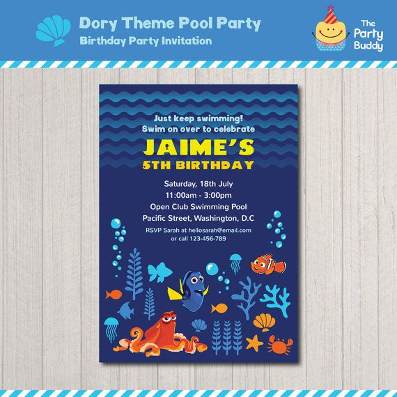 Finding Dory Underwater Birthday Party Invitation http://etsy.me/2cqTNe8