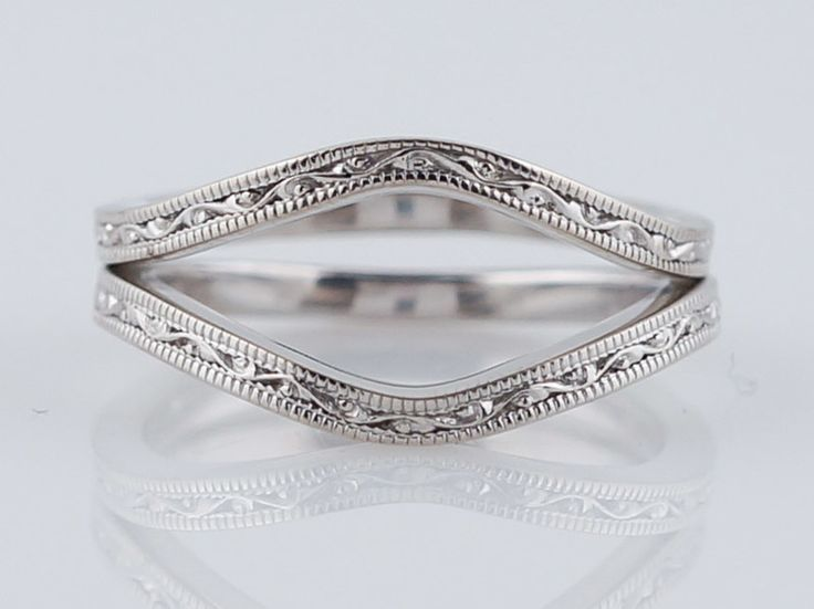 jabel antique wedding band art deco ring guards in white gold - Wedding Ring Guards