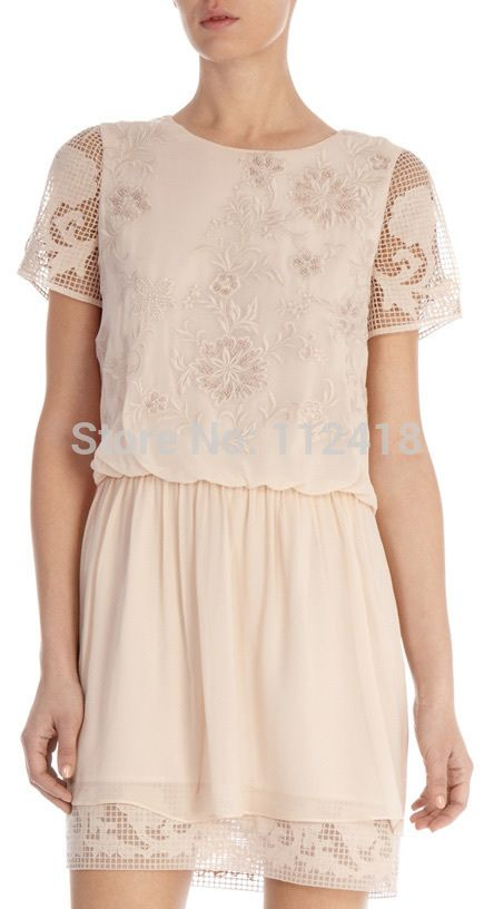 >> Click to Buy << Silk Georgette Short Sleeved Floral Embroidered Women Beaded Sexy Party Dress DS257 #Affiliate