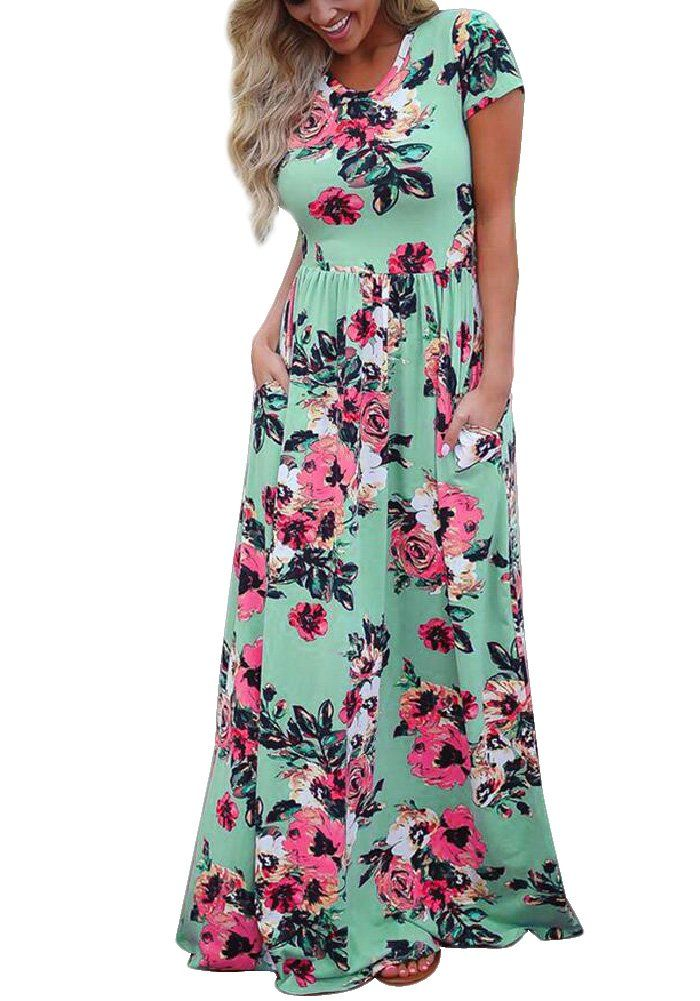 9712e1caf1549 Womens Floral Print Crew Neck Short Sleeve Maxi Long Casual Dress Green XL  * You can get additional details at the image link. (This is an affiliate  link) # ...