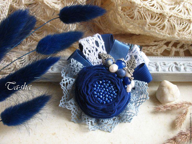 """Купить """"Синяя даль"""" бохо брошь, цветок из ткани голубой - брошь в форме цветка boho chic boho jewelry boho brooch brooch textile"""