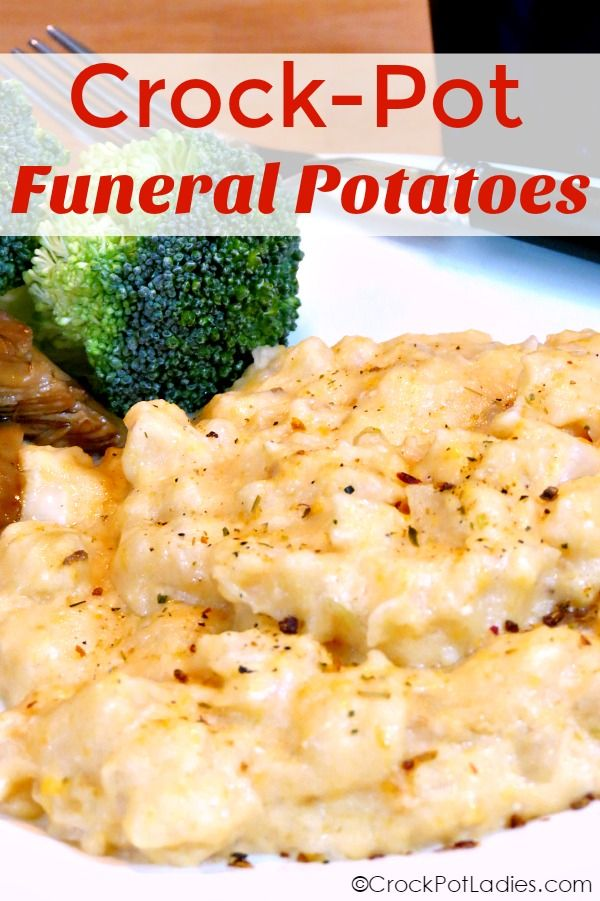 "A Midwestern favorite side dish often taken to families after a funeral these Crock-Pot Funeral Potatoes are also known as simply ""cheesy potatoes"". This is a wonderfully delicious side dish recipe perfect for any potluck or family get-together. [recipe from CrockPotLadies.com]"
