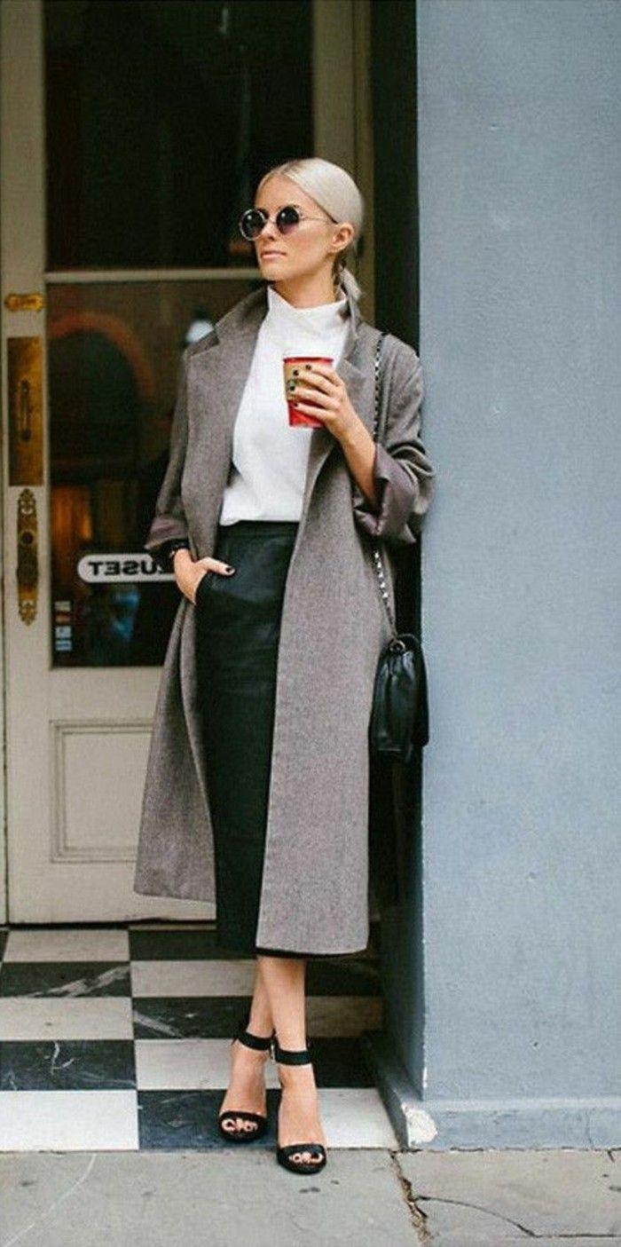 business kleider grauer mantel weise bluse schwarzer rock hohe schwarze schuhe braune sonnenbrille