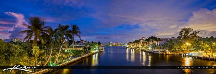 Panorama of the city skyline along the Boca Raton waterway before sunrise. Tone mapped image created using Photomatix Pro and Topaz software.