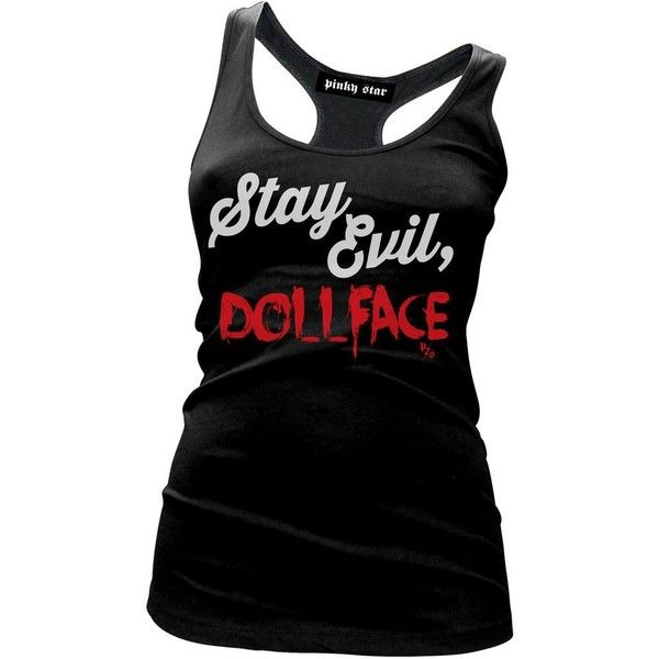 Women's Pinky Star Stay Evil Doll Face Tank Top Black ($22) ❤ liked on Polyvore featuring tops, shirt top, babydoll tops, doll shirt, cotton tank and star tank top