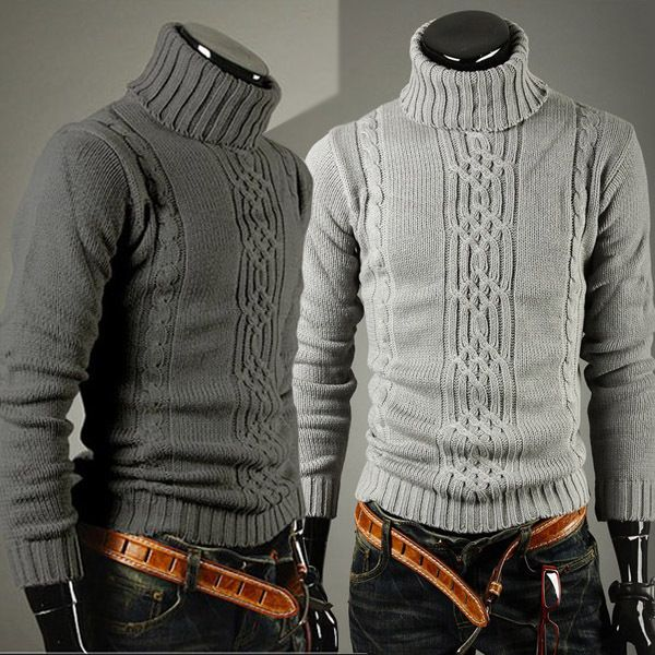 2013 New Arrival All-Match Classic Winter Thermal Irregular Male Polo-Necked Collar Turtleneck Sweater Freeshipping $17.00