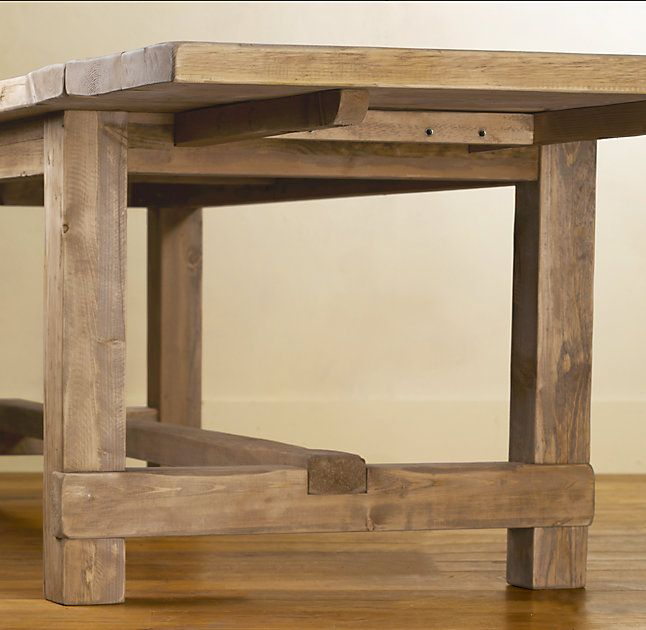 RHs Salvaged Wood Farmhouse Rectangular Extension Dining TableA Perennial Classic Our Table Evokes The Clean Lined Parsons Style And Is